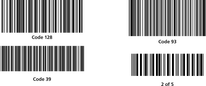 1D barcode symbologies
